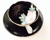 Vintage teacup set-Manatou by grindley -1960s - black teacup set- large flower cup- tea- coffee
