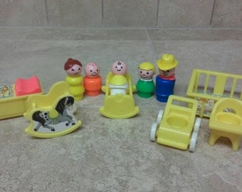 Vintage Fisher Price Little People Play Family Nursery Set