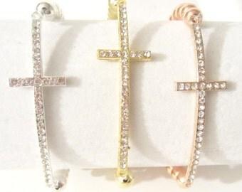Cross Bracelet. Cross Bracelet Sideways. Silver Cross Bracelet.