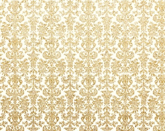 Gold Glitter Damask -  Vinyl Photography Backdrop Photo Prop