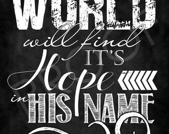 Scripture Art - Matthew 12:21 Chalkboard Style