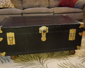 Vintage Trunk Coffee Table with Industrial Wheels, Upcycled, Black