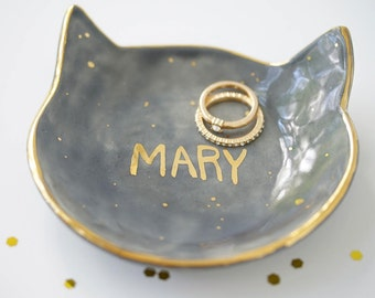 Personalized Kitty Jewelry Dish 22k Gold Name Dish For Jewelry or Anything Else MADE TO ORDER