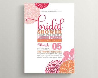 Printable Bridal Shower Invitation \ Pink and Orange Floral Invite (PP61)