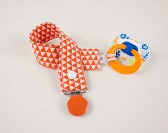 Orange Triangles Pacifier Clip