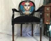 Custom order listing for Georgie Black glossy armchair upholstered in black velvet
