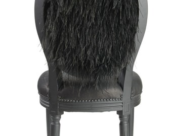 Black on Black Matte Flat Black French Louis XVI accent side chair tufted and upholstered with black leather and ostrich feathers dining set