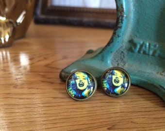 post earrings /// Marilyn Monroe pop art