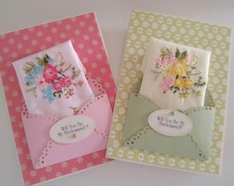 Vintage Wedding Handkerchief Set Bridesmaid Gift Keepsake Accessory Appreciation Thank You Hankie Cards