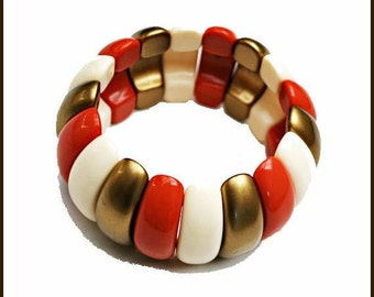 Lucite stretch Bracelet Coral Gold and Cream