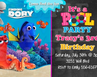 Kids Finding Dory, Nemo Invitation PRINTABLE birthday invitation