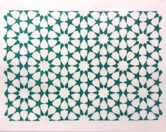 linocut - tessellation - 9x12 / printmaking / block print / turquoise, green / Islamic geometric design / tessellation