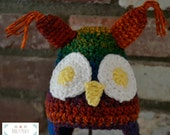 Rainbow Crochet Owl Hat, Crochet Owl Hat, Rainbow Hat, Unisex Hat, Boy Hat, Girl Hat, Winter Hat, Hat With Earflaps, Baby Hat