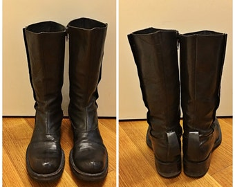 Size 9 Women's Black Leather Midi Boots Men's Size 7 1/2 Combat Boots Flat Leather Mid-Calf Biker Boots