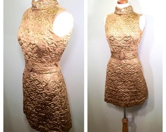 Vintage 1960s Gold A-Line Mini Dress Gold High Neck Mock Turtleneck Mini Party Dress Twiggy Dress Mod Holiday Party Dress Small