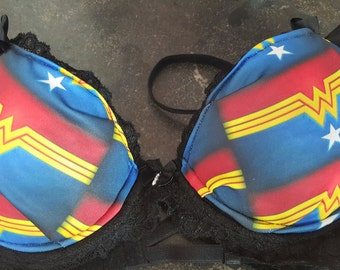 Ready to ship colorful Wonder Woman inspired 34b bra