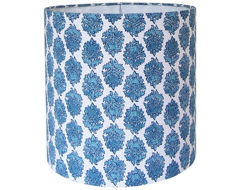Custom Lamp Shade - Blue Lampshade - Fabric Lamp Shades - Zira by Lacefield Designs in Seaside Turquoise Aqua Small Scale Block Print