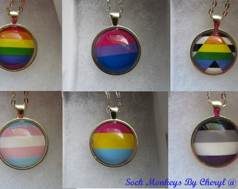 LGBT Glass Pendant Necklace Gay Pride