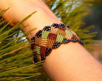 Wide Plaid Zig Zag Micro Macrame Beaded Bracelet (203)
