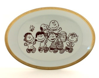 Snoopy Woodstock Keep Looking Up Peanuts Porcelain Vintage White Platter Positive Altered Comic C. M. Schulz Golden Rim Brown Friendship