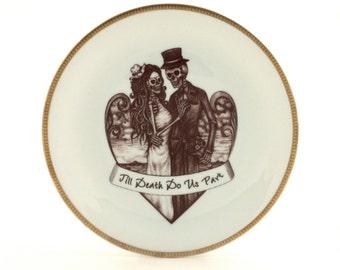 SALE Goth  Bride Groom Skeleton Altered Vintage Plate Porcelain Till Death Do Us Part Wedding Present Couple Heart Halloween Day of the Dead