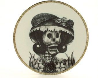 Sugar Skull Altered Vintage Porcelain Plate Calavera Catrina Day of the Dead Mexico Halloween Dios de los Muertos Wall Decoration