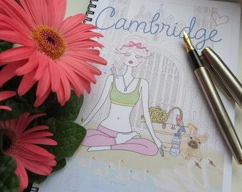 Designer Cambridge Yoga Notebook, chic feminine notebook yoga wellness fashion illustration, fashion notebook, fashion print, sketchbook, UK