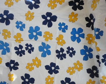 Vintage Flower Power Corduroy Fabric Large Loud Floral Corduroy Material Large Flowered Fabric Navy Yellow Royal Blue Flower Material