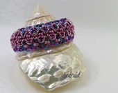 Chainmail Jewelry, Blue, Violet and Pink Rondo al a Byzantine Anodized Aluminum Chainmaille Bracelet