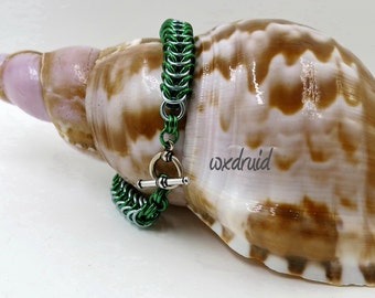 Chainmaille Bracelet, Box Chain Weave, Handmade Seafoam and Green Anodized Aluminum Chainmail Bracelet
