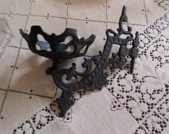 Three Piece Vintage Victorian Black Iron Wall Sconce/Candle Holder with Two Matching Candle Holders