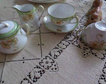 Antique Nippon Morimura-Japan-Porcelain After Dinner Tea/Coffee Cups/Saucer/Creamer/Sugar Bowl-Green/Gold//Pink