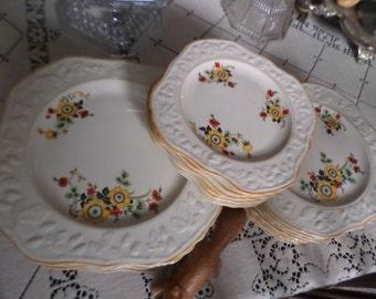 Rare Vintage English Brambleberry Embossed Square Bread/Dessert/Cake Plate-Yellow/Orange/Red/Black Floral-Yellow Trim