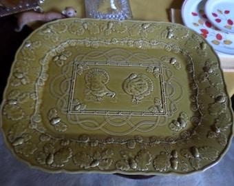 "Thanksgiving 18 3/4"" x 14 1/2"" Sur la Table-Portugal-Honey Colored Embossed Square Turkey Platter-Acorns/Leaves/Pumpkins"