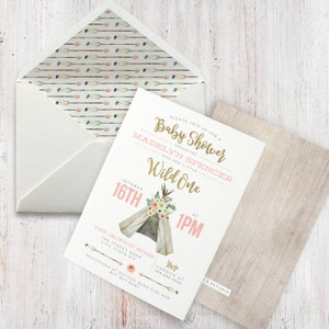 Teepee Rustic Boho Watercolor Baby Shower Invitation Chic Wild One Gold Glitter Lined Envelopes
