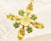 Swarovski Rhinestone Star Flower Pendant Jonquil Matte Yellow & Chrysolite Green Pendant 30mm 1 Ring Brass, Black or Silver Ox Setting - 1