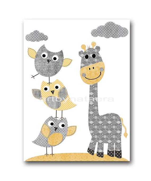 Grey Yellow Owl Wall Art Giraffe Decor Canvas Print Canvas