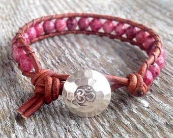 pink beaded leather wrap bracelet faceted lepidolite sterling silver OM yoga stacking band