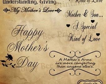 Mother's Day Digital Scrapbook Word Art Clip Art & Card Making - Typography Overlays - Instant Download - PNG
