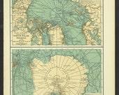 Vintage Map North Pole South Pole Antarctica Original 1921