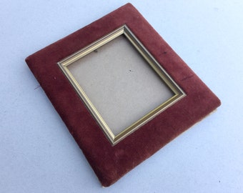 Burgundy velvet picture frame, Gold painted ornate wooden photo frame, Rectangular shape gold frame, Gold and red