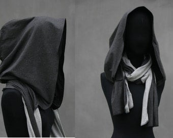 """Hooded scarf, """"old black"""", Victorian XXL hood, scoodie spring, cotton stone washed black, fairytale, Solmode"""