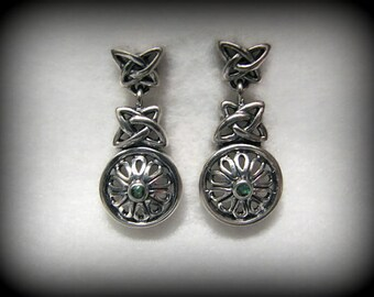 Vintage CELTIC Drop Earrings with Genuine Emerald Accent