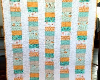 Modern  Baby Toddler Boy Patchwork Quilt Blanket Orange Blue  Aqua White Foxes Stacked Coin