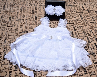 Baptism Dress, Baptism Headband, Christening Outfit Girls, Baptism Outfit Girls, Christening Dress, Christening Headband, Cross Headband