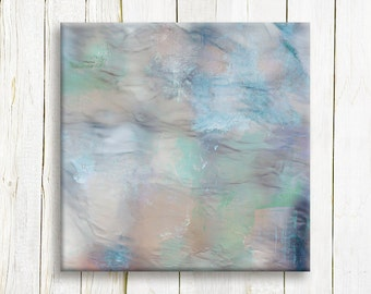 Light blue abstract art print on canvas - Square Abstract Art Print on canvas - Housewarming gift