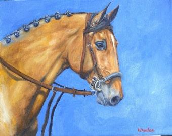 Original horse oil painting Nicolae Equine Art Hunter Jumper Nicole Smith Artist 8x10 light Bay Blue