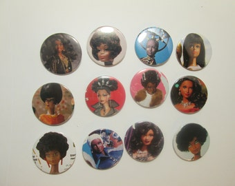 Barbie Buttons / Black Dolls  / 1 dozen recycled magazine images / as pictured/ Item 10-308