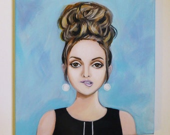 Indecision, an original painting of a 1960's girl with bouffant hair.