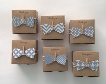 25 grey bow tie favor boxes 3x3x2 inch Little man baby shower - bow tie favor boxes -  black and white baby shower. Grey baby shower favors